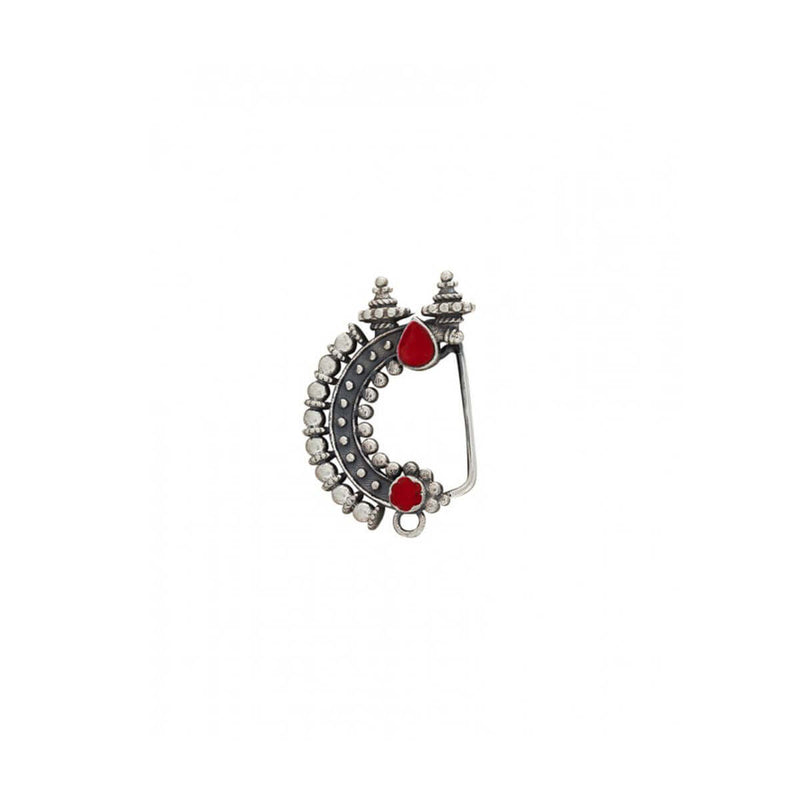 Temple Silver Nath - Red, Clip On Right