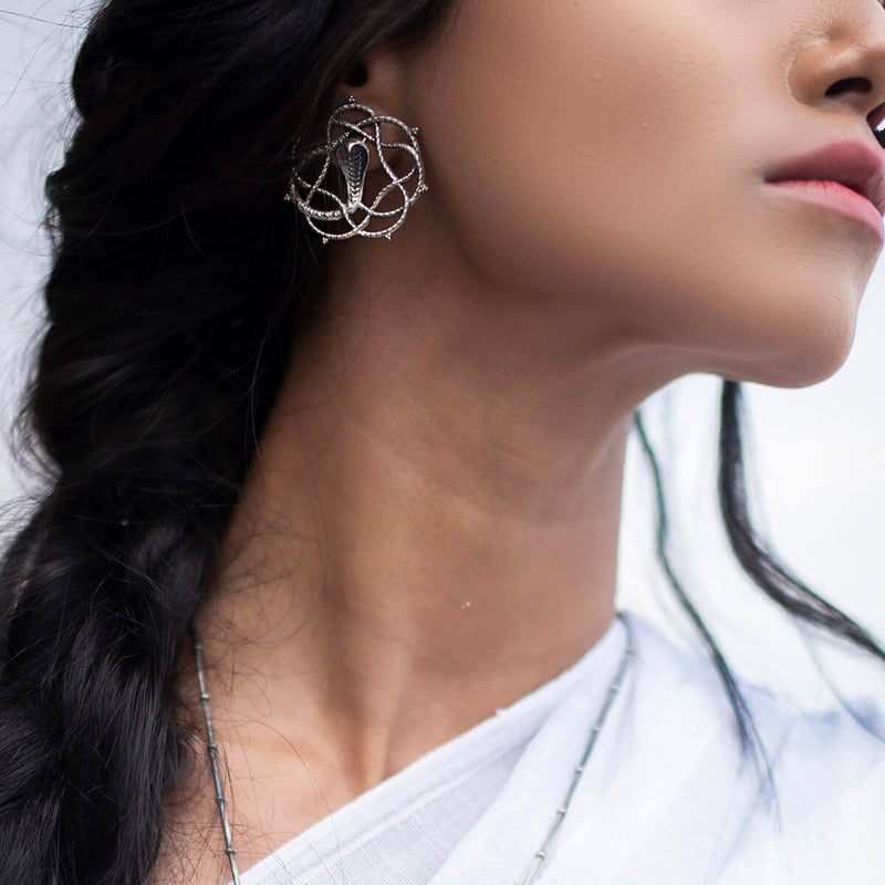 Vasuki Silver Earrings - mohabygeetanjali