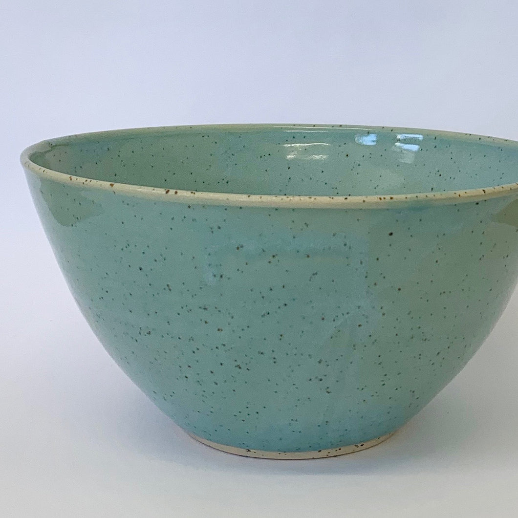 003. Larger Bowl. Robin-egg blue light speckle