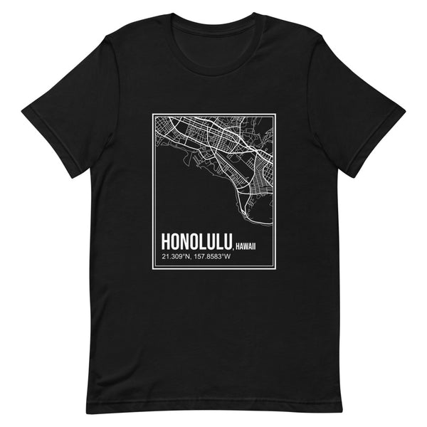 Honolulu City Street Map T-shirt (Unisex)