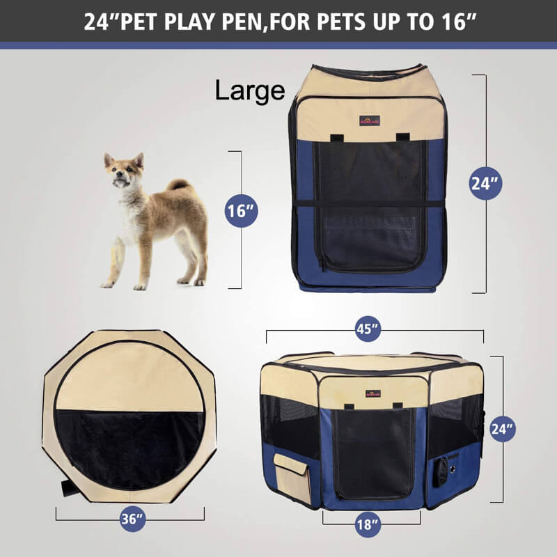 Aivituvin Indoor/Outdoor Portable Pet Playpen with Cover and Floor for Large and Small Dogs,Cat,Puppy-AIPP003 AIPP004