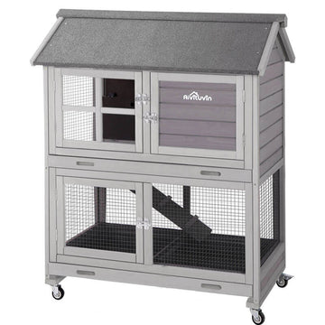 Outdoor Rabbit Hutch Bunny Cage with Bottom Wire Netting (Inner space 9.6ft²) -AIR15