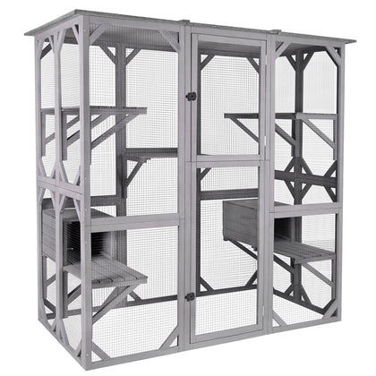 Aivituvin Walk In Style Extra Large Cat Enclosure With Platforms And Resting Room Air37