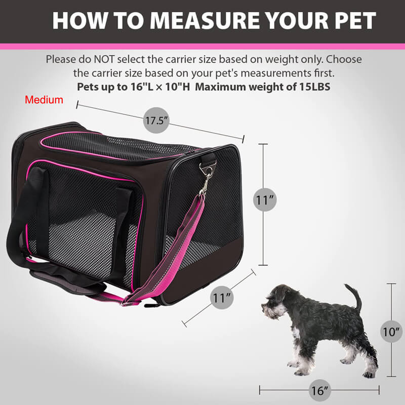 Aivituvin Pink Cat Carrier Bag,Soft Sided Collapsible Cat Carrier-AIPC002 AIPC007