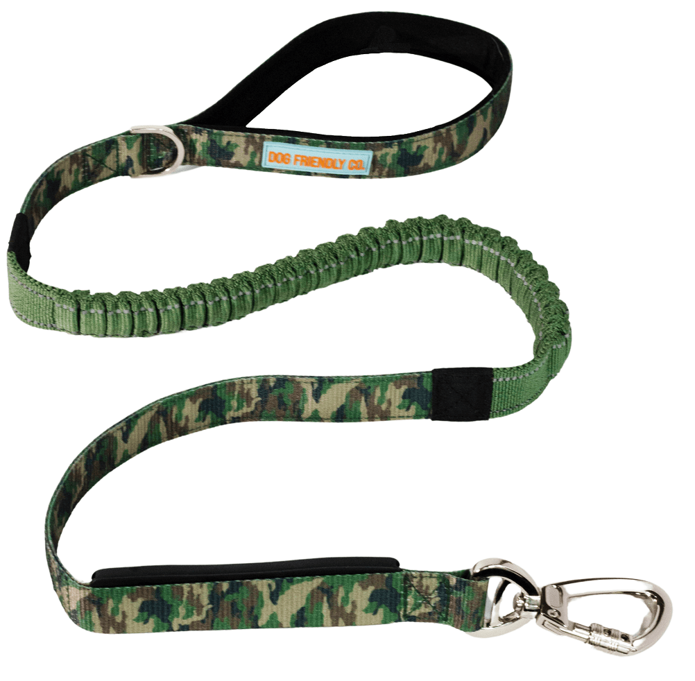 DF Co. Green Camo Bungee Dog Leash