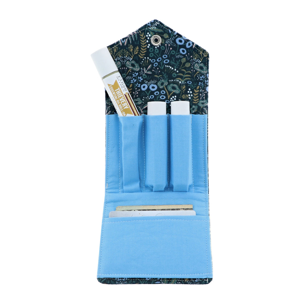 Deep Blue Floral Essential Oil Roll-On Wallet 3 Row