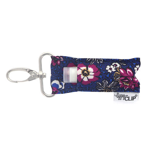 Navy with Fuchsia Floral Lippy Clip