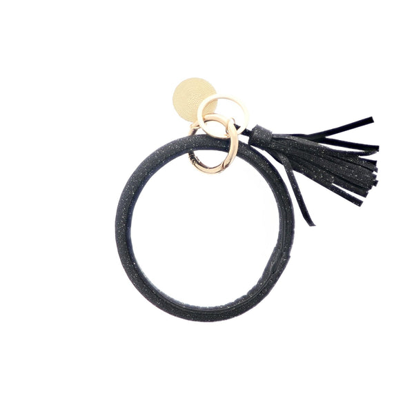 Bracelet Key Ring - Black Sparkle