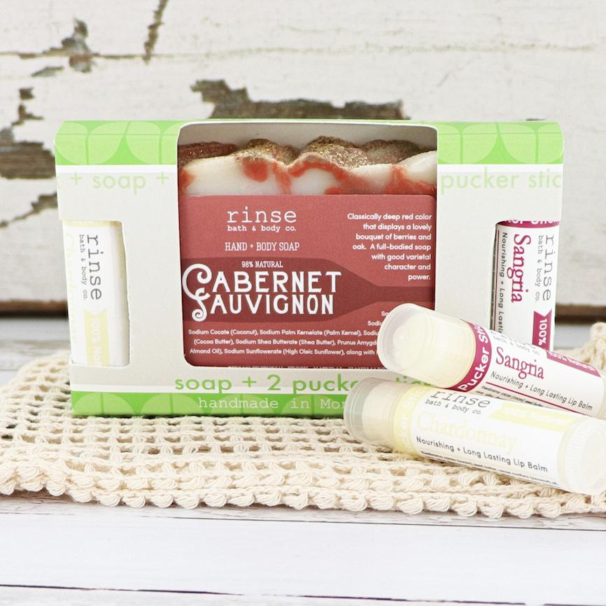 Cabernet Soap + Pucker Stick Box - Rinse Bath & Body
