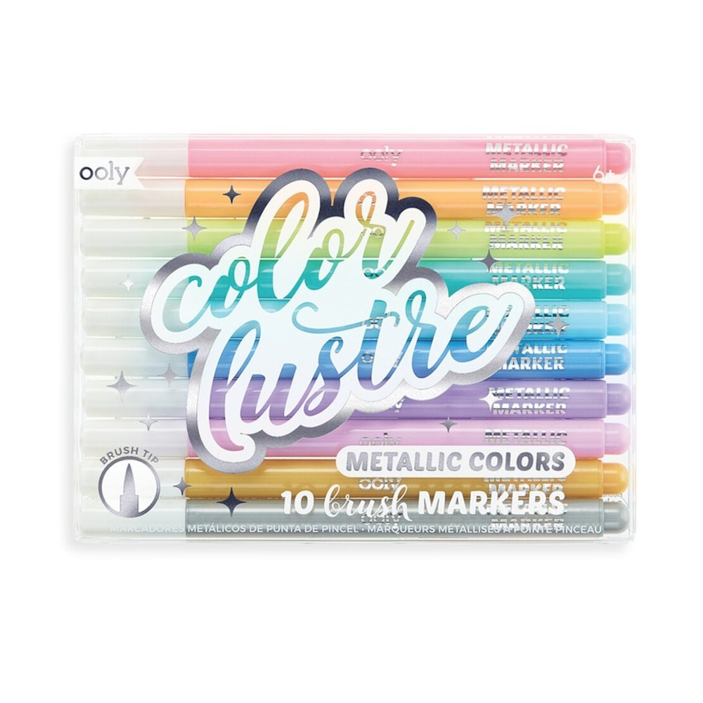 Color Lustre Metallic Brush Markers - Set of 10 - Rinse Bath & Body