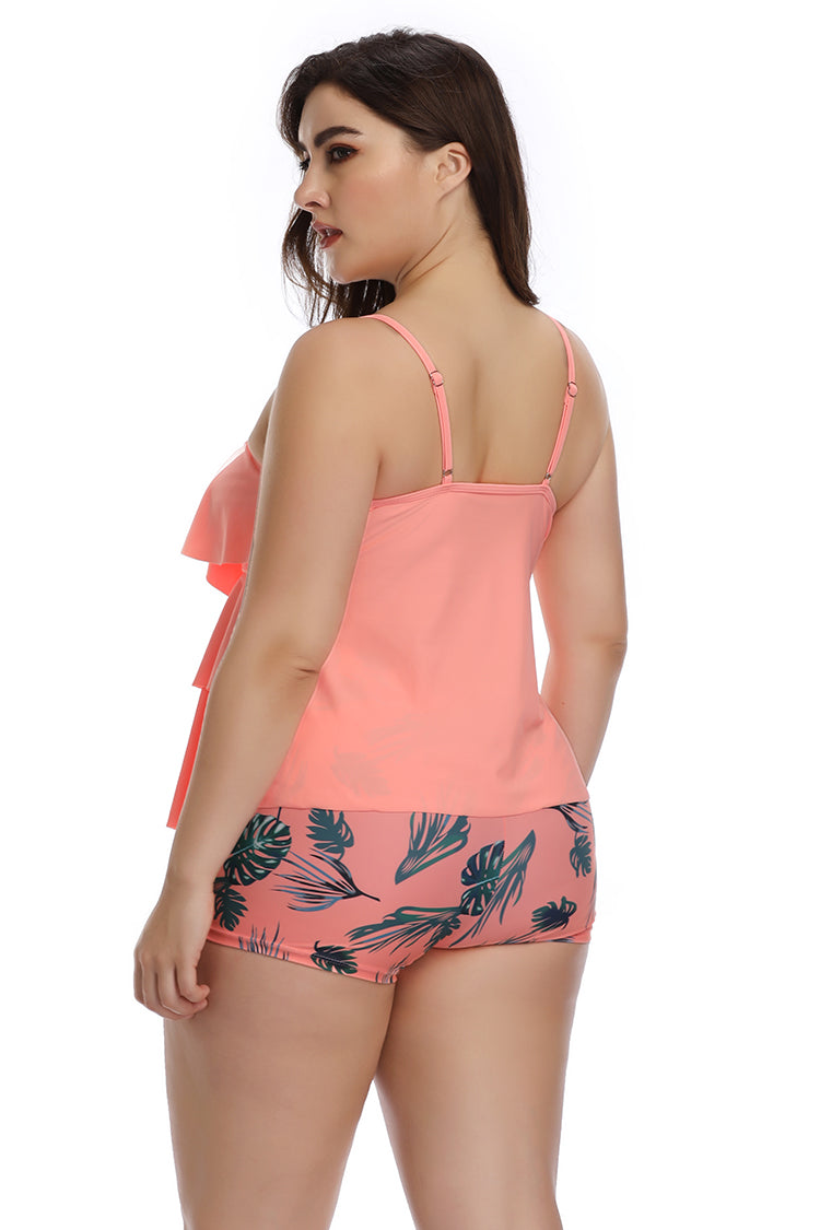 Plus Size Swimwear Flounce Printed Two Pieces Swimsuits - B2prity