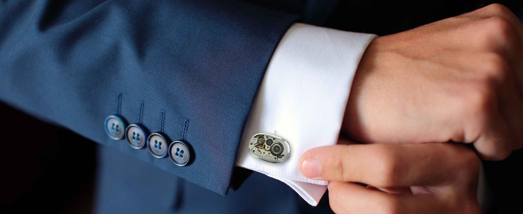 Upcycled Elgin watch cufflinks in sterling silver