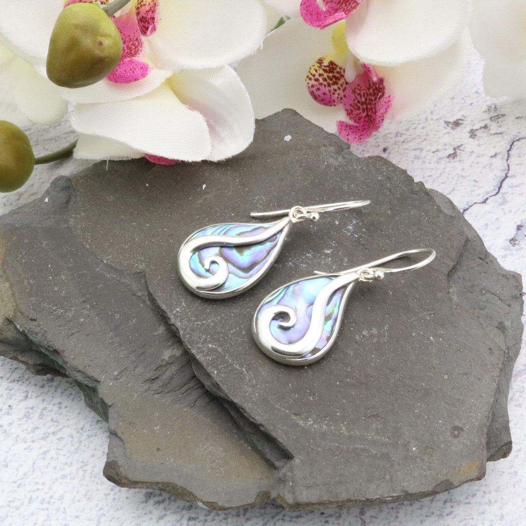 Hepburn and Hughes Abalone Shell Earrings | Teardrop with Swirl | Sterling Silver