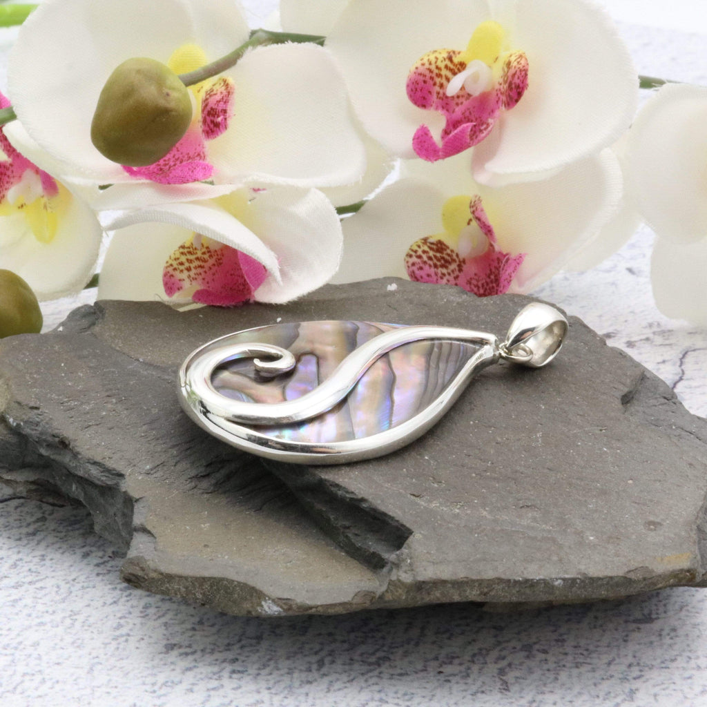Hepburn and Hughes Abalone Shell Pendant | Teardrop with Swirl | Sterling Silver