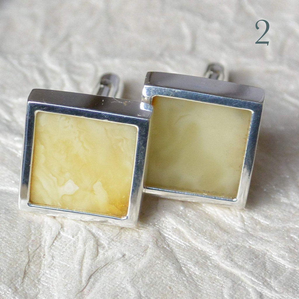 Hepburn and Hughes Amber Cufflinks in Sterling Silver