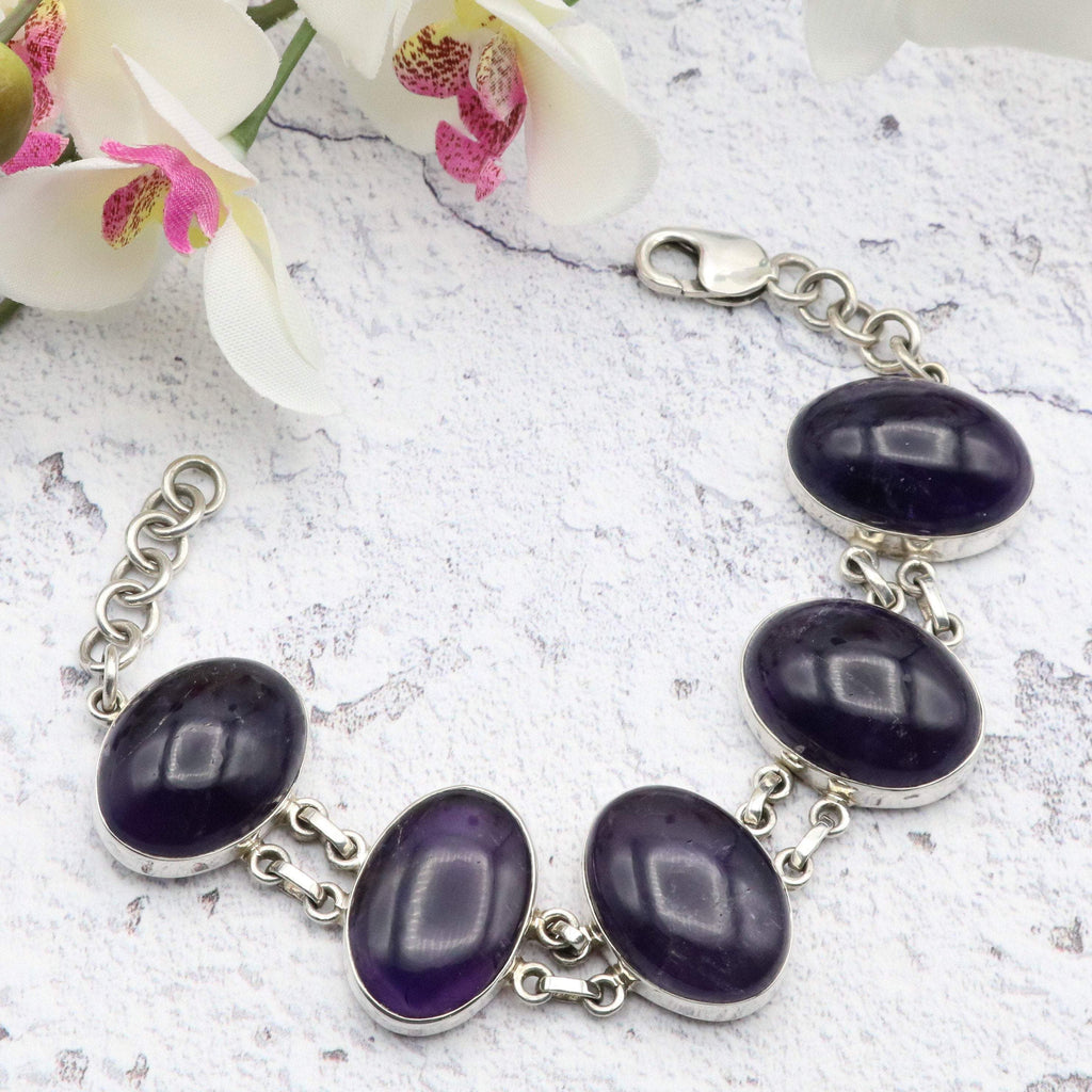 Hepburn and Hughes Amethyst Bracelet, Five Ovals in Sterling Silver