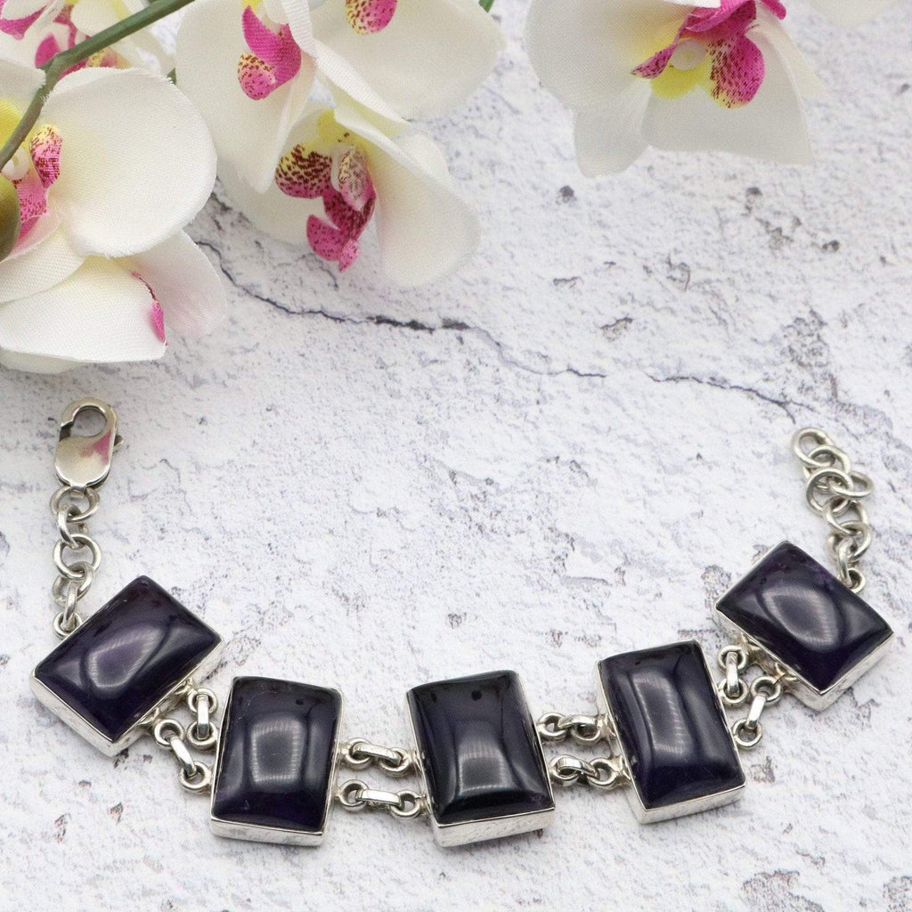 Hepburn and Hughes Amethyst Bracelet Large rectangles x 5 in Sterling Silver