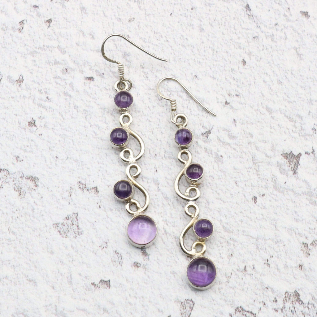 Hepburn and Hughes Amethyst Earrings, long drop with 4 stones set in Sterling Silver