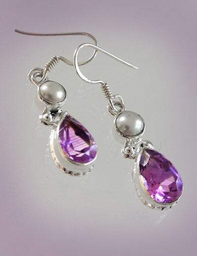 Hepburn and Hughes Amethyst Earrings, Teardrop with pearl in Sterling Silver