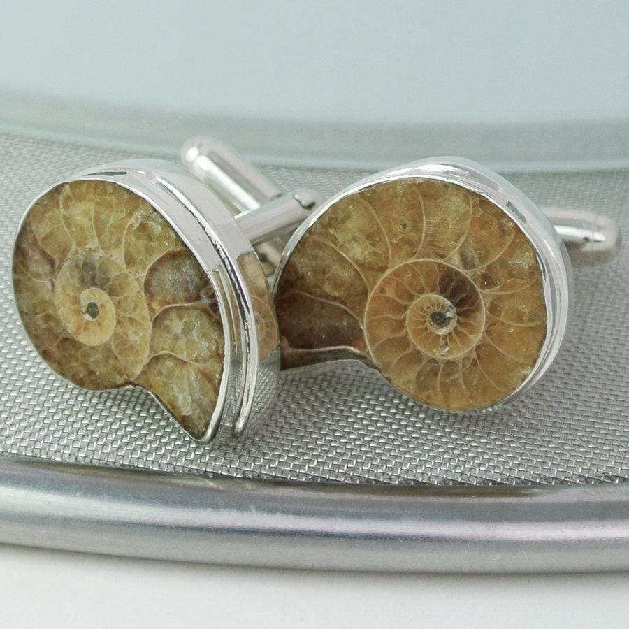 Hepburn and Hughes Ammonite Cufflinks in Sterling Silver