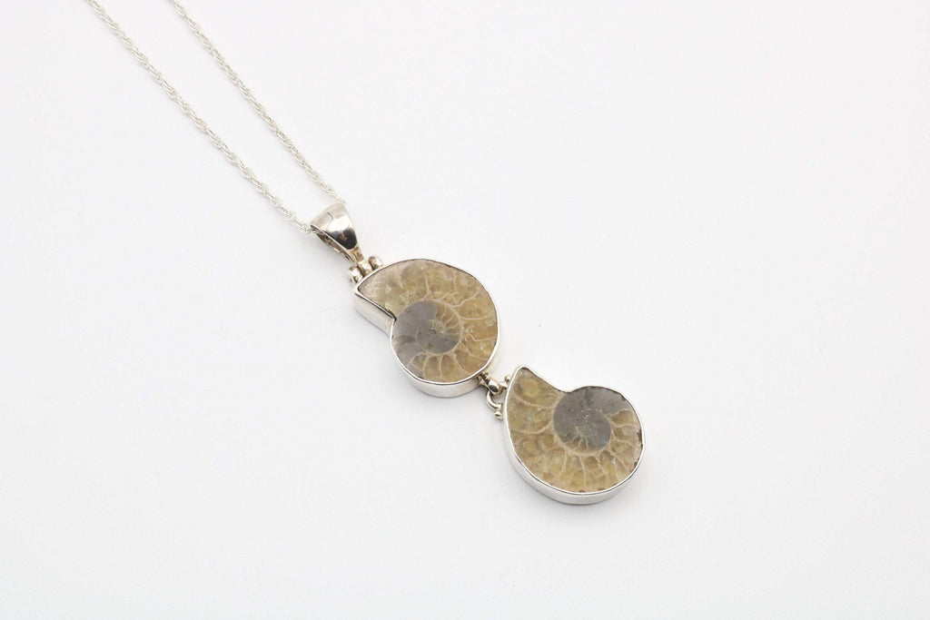 Hepburn and Hughes Ammonite Pendant, Double in Sterling Silver