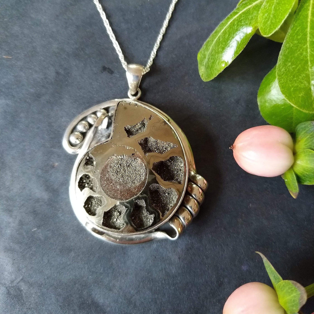 Hepburn and Hughes Ammonite Pendant, Ornate Pyritised in Sterling Silver
