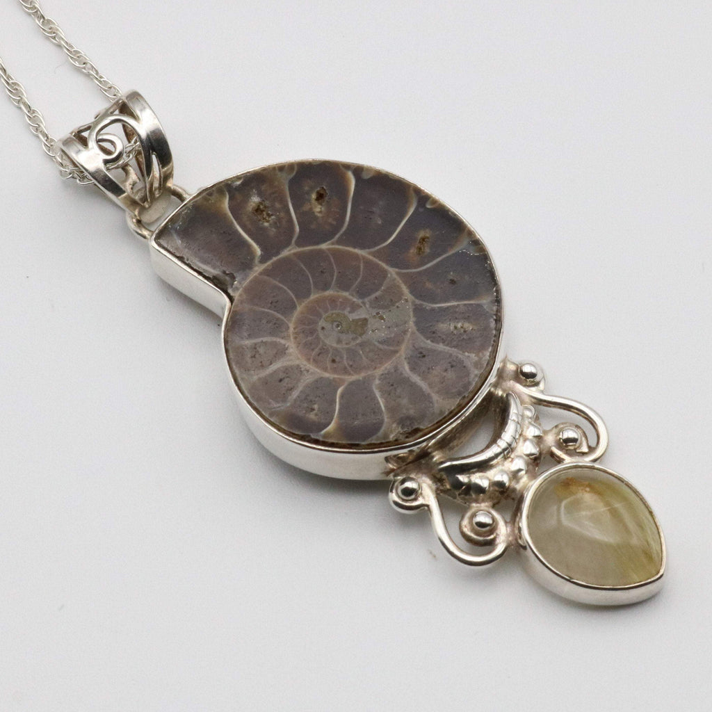 Hepburn and Hughes Ammonite Pendant, with Citrine in Sterling Silver