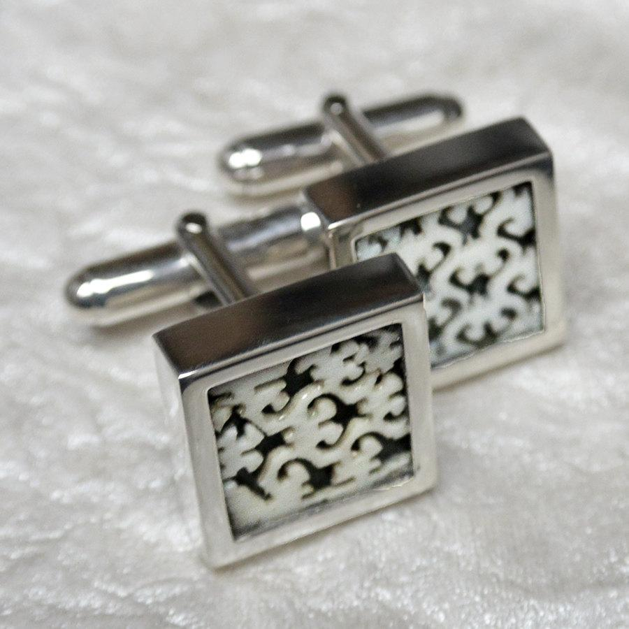 Hepburn and Hughes Antique Chinese Fan Cufflinks in Sterling Silver with Jade