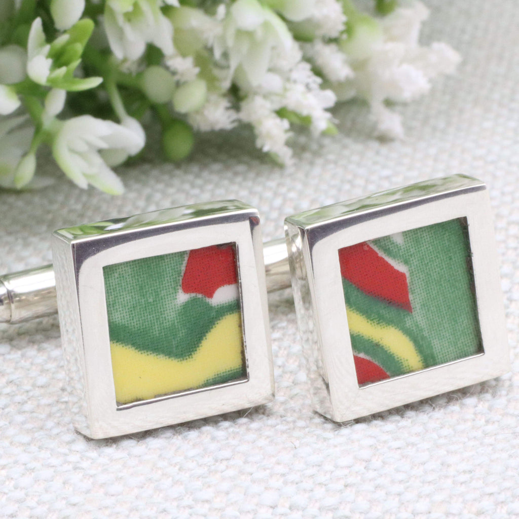 Hepburn and Hughes Art Deco Cufflinks | Clarice Cliff Ceramics | Sterling Silver