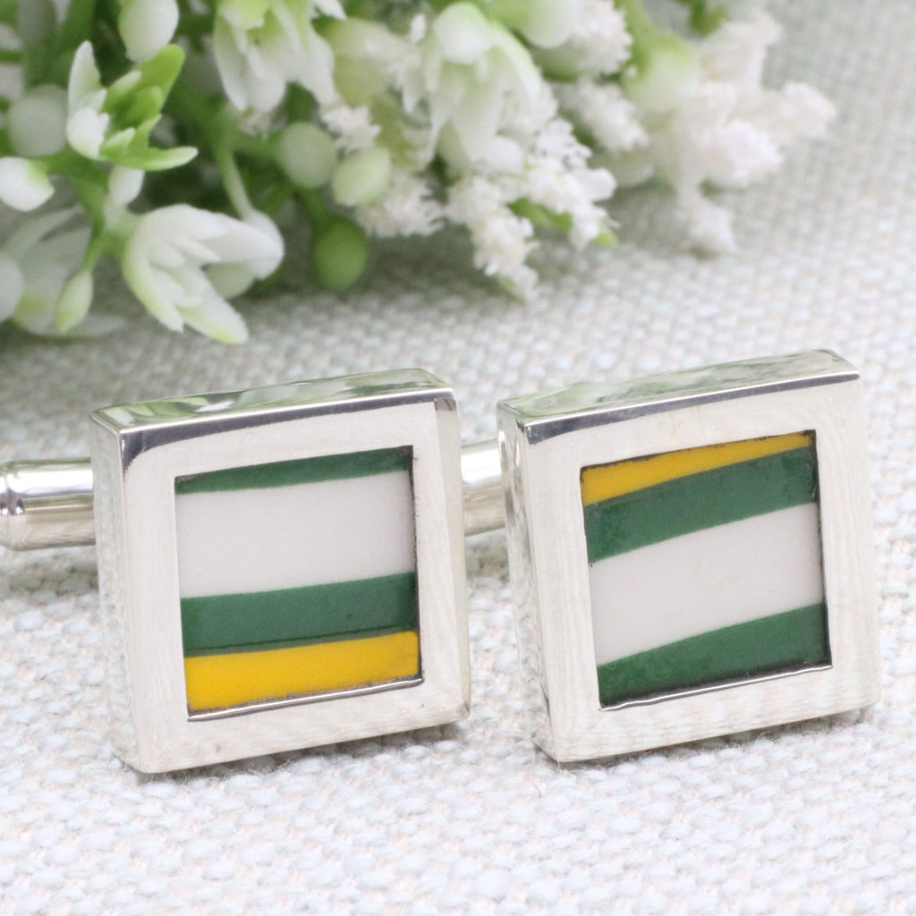 Hepburn and Hughes Art Deco Cufflinks | Clarice Cliff Ceramics | Yellow and White | Sterling Silver