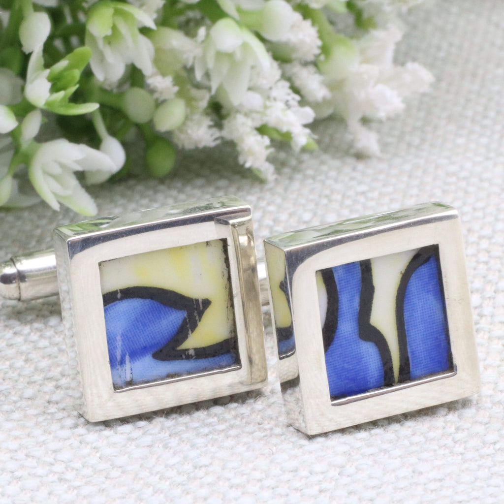Hepburn and Hughes Art Deco Cufflinks, Clarice Cliff in Sterling Silver