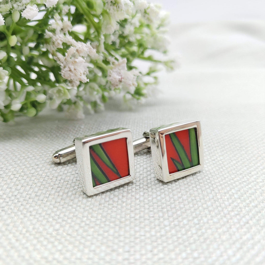 Hepburn and Hughes Copy of Art Deco Cufflinks, Clarice Cliff in Sterling Silver
