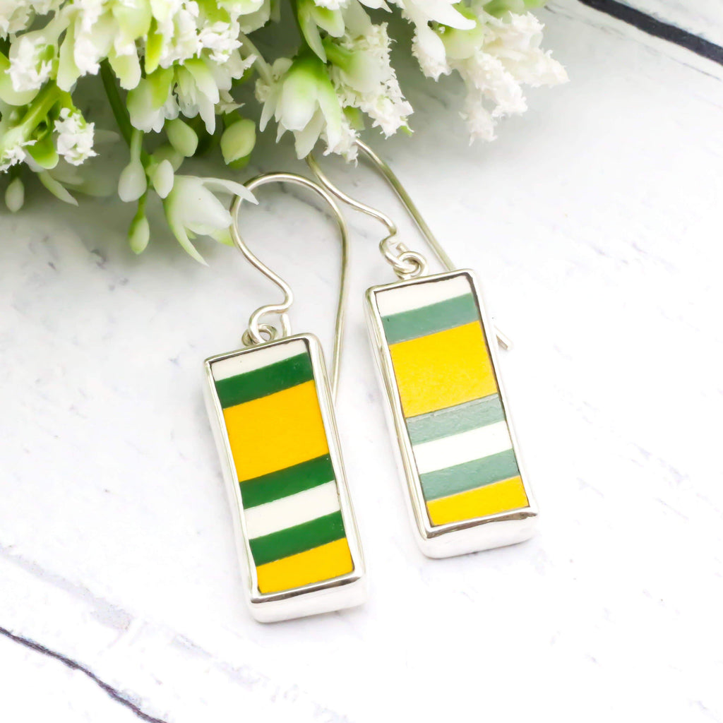 Hepburn and Hughes Art Deco Earrings | Clarice Cliff Ceramics | Green and Yellow | Sterling Silver