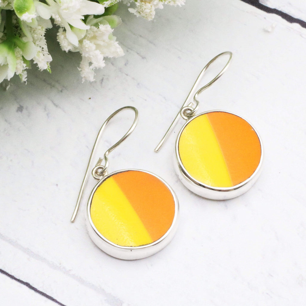 Hepburn and Hughes Art Deco Earrings | Clarice Cliff Ceramics | Orange and Yellow | Sterling Silver