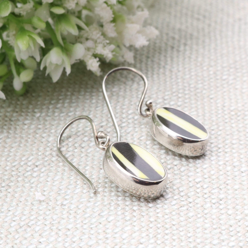 Hepburn and Hughes Art Deco Earrings, Clarice Cliff, Small Oval in Sterling Silver
