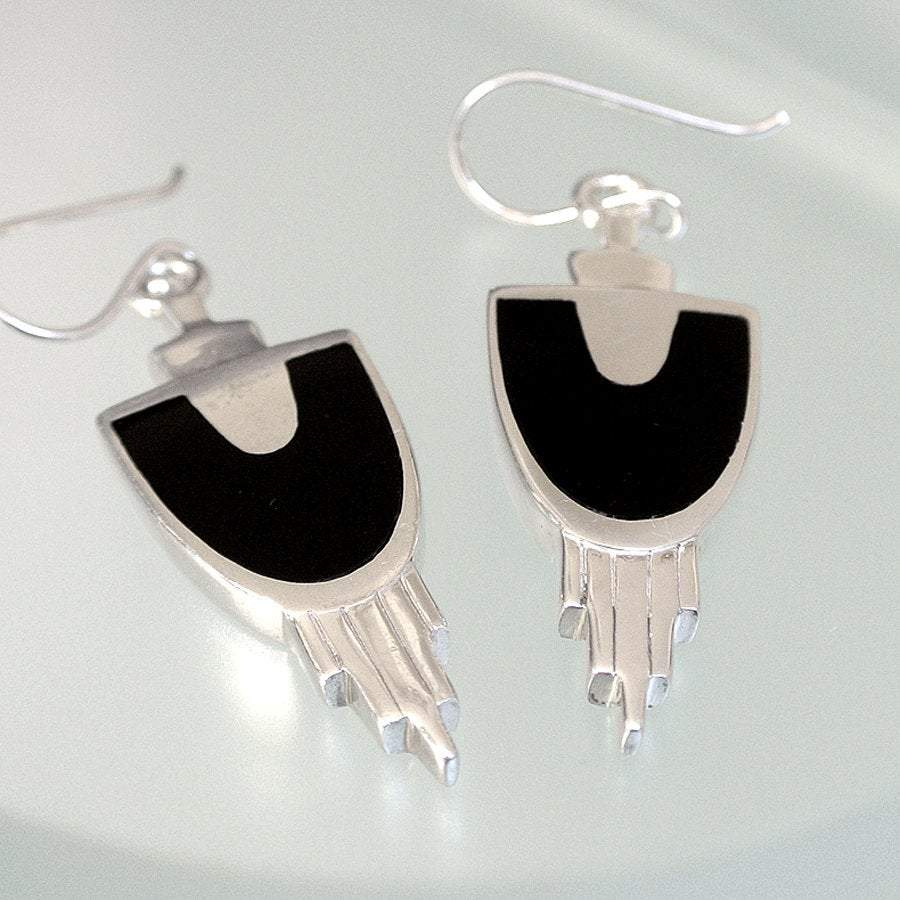 Hepburn and Hughes Art Deco Earrings, in Sterling Silver