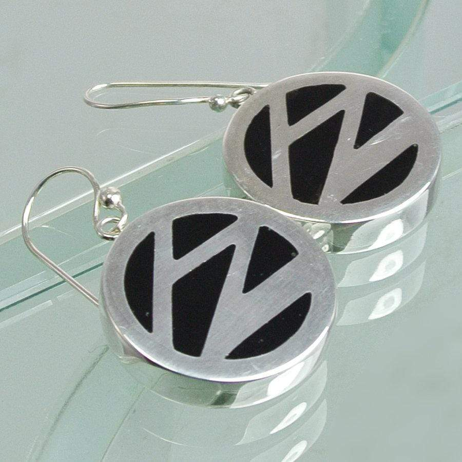 Hepburn and Hughes Art Deco Earrings, small circle in Sterling Silver