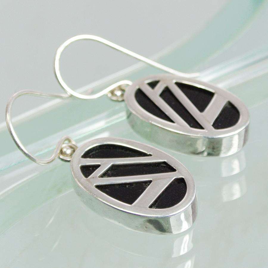 Hepburn and Hughes Art Deco Earrings, small oval in Sterling Silver