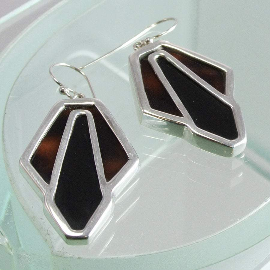 Hepburn and Hughes Art Deco Earrings, Tortoiseshell in Sterling Silver