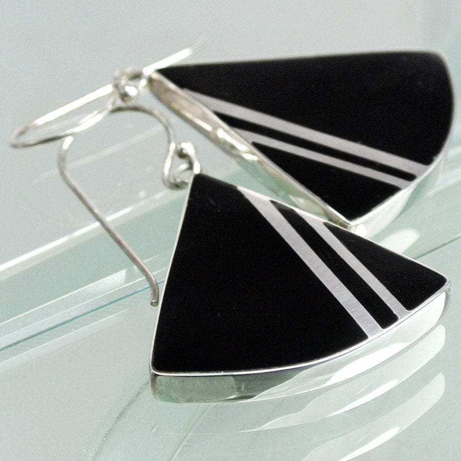 Hepburn and Hughes Art Deco Earrings, triangle in Sterling Silver