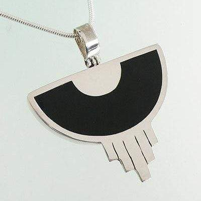 Hepburn and Hughes Art Deco Pendant, black semicircle in Sterling Silver