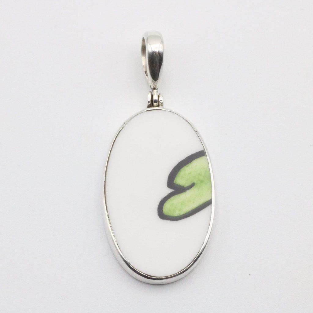 Hepburn and Hughes Art Deco Pendant, Clarice Cliff oval in Sterling Silver