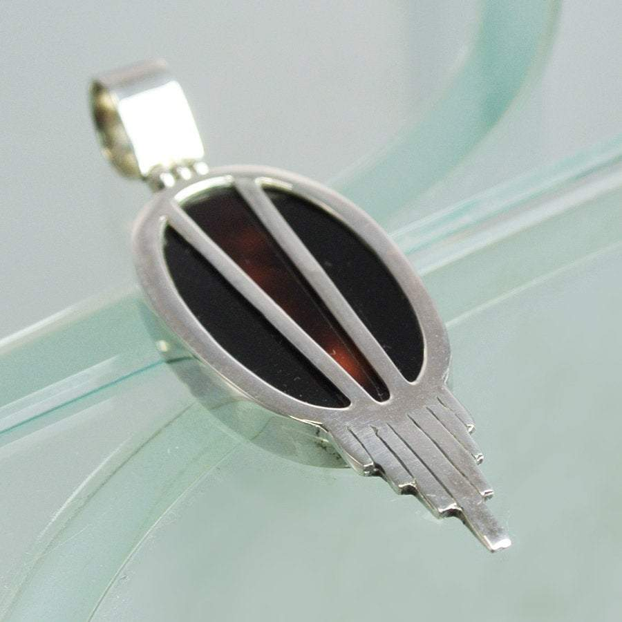 Hepburn and Hughes Art Deco Pendant, oval tortoiseshell in Sterling Silver
