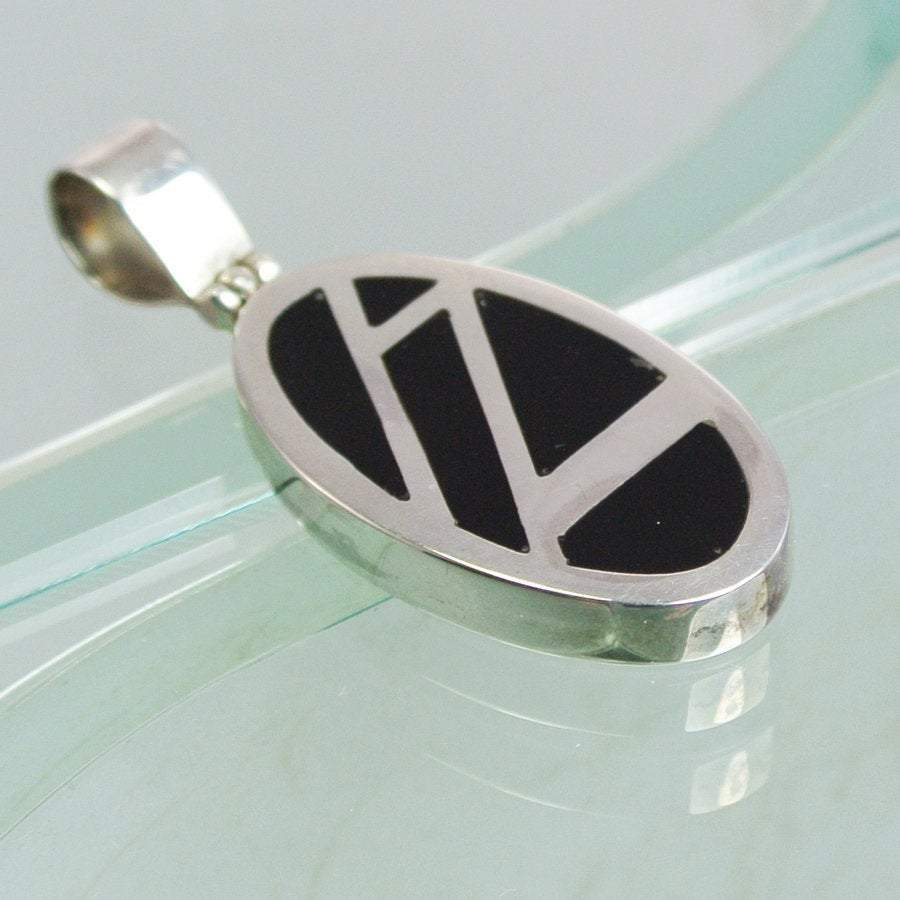 Hepburn and Hughes Art Deco Pendant, small oval in Sterling Silver