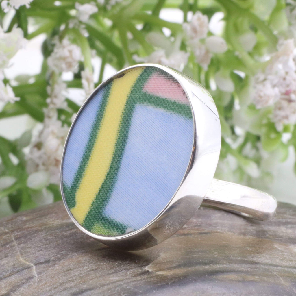 Hepburn and Hughes Art Deco Ring, Clarice Cliff, Large Round in Sterling Silver