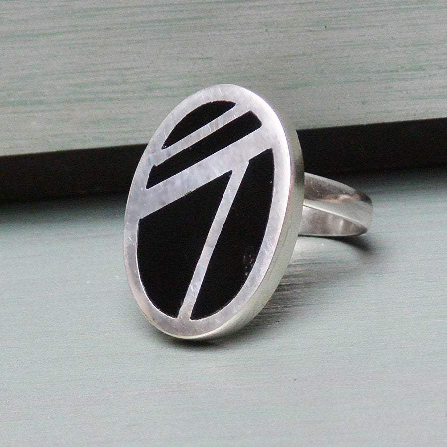 Hepburn and Hughes Art Deco Ring, oval in Sterling Silver