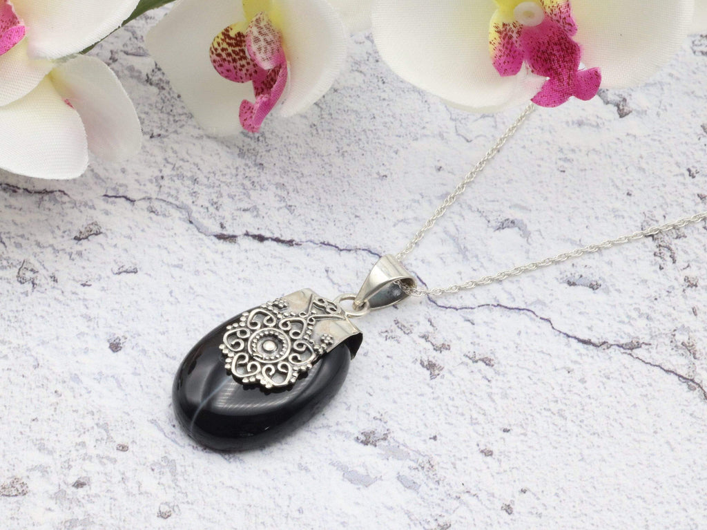 Hepburn and Hughes Banded Black Onyx Pendant, Ornate Oval, in Sterling Silver