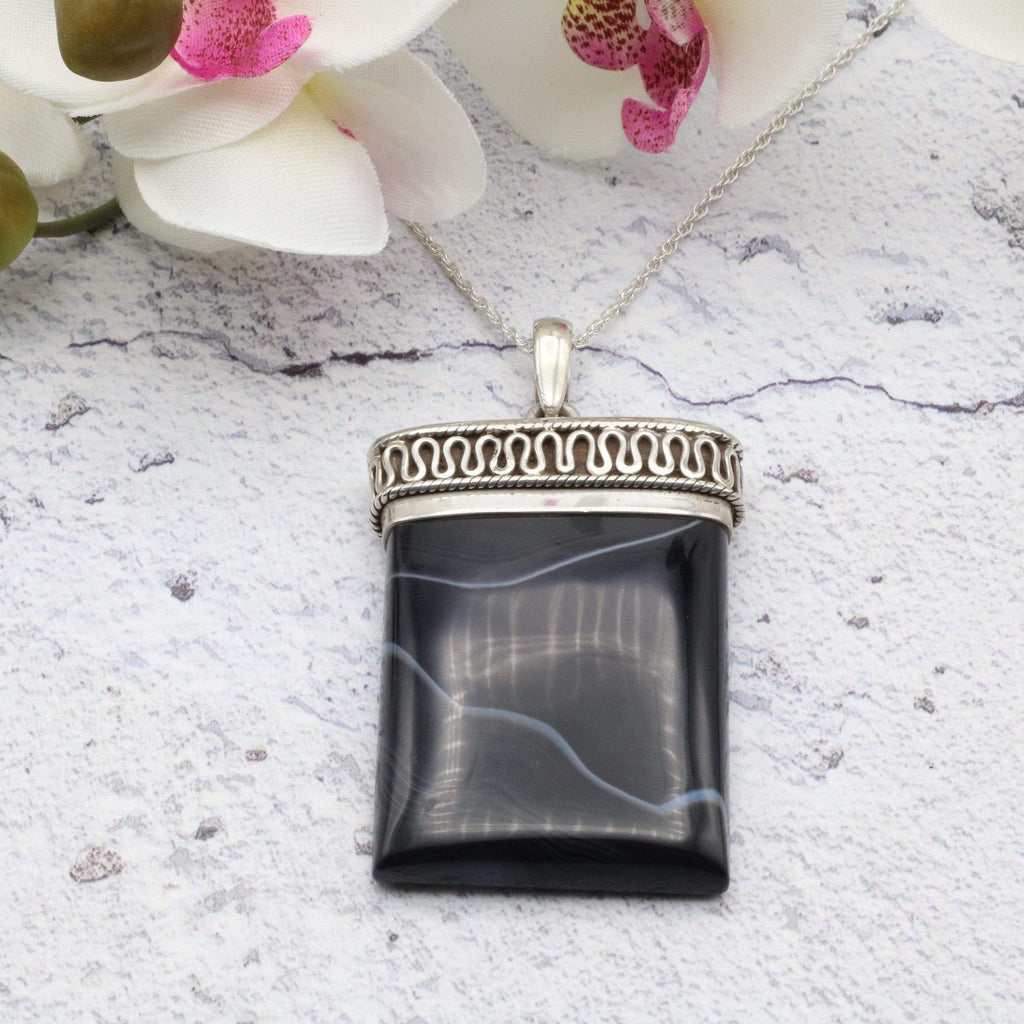 Hepburn and Hughes Banded Black Onyx Pendant, Ornate Rectangle in Sterling Silver