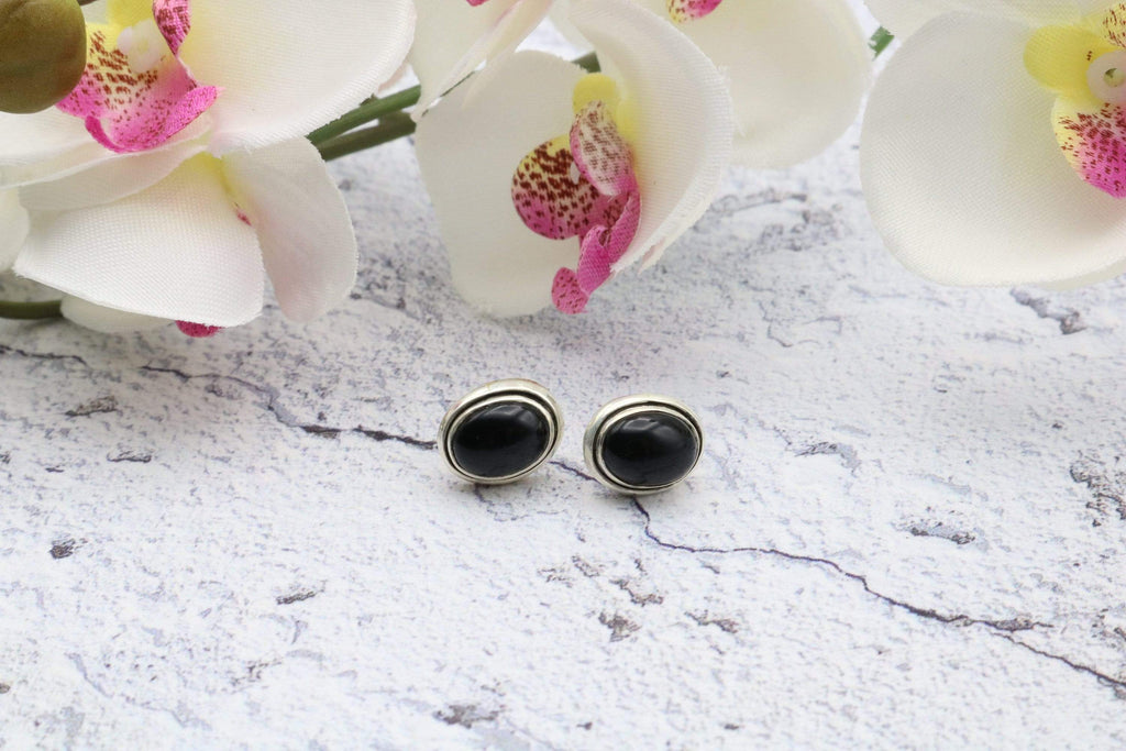 Hepburn and Hughes Black Onyx Earrings, Double rim Oval Studs, in Sterling Silver