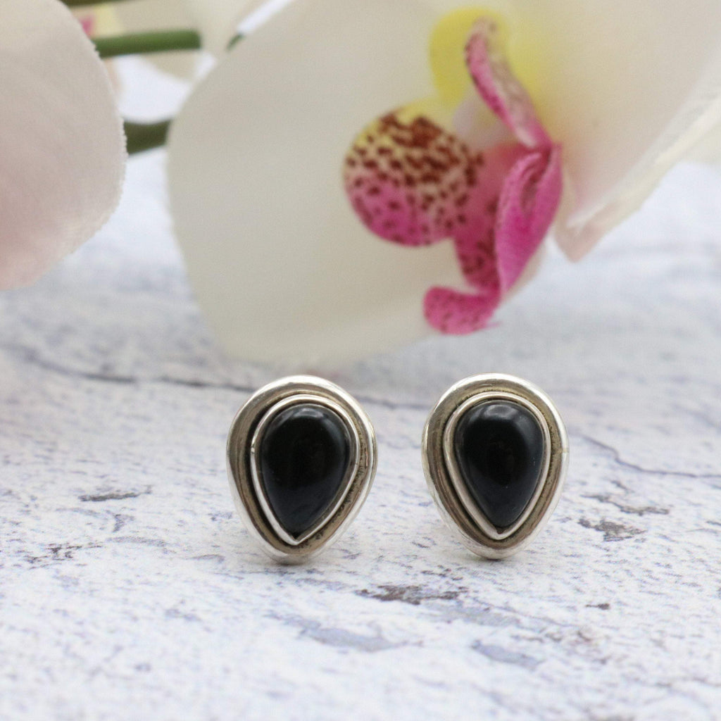 Hepburn and Hughes Black Onyx Earrings, Double rim Teardrop Studs, in Sterling Silver